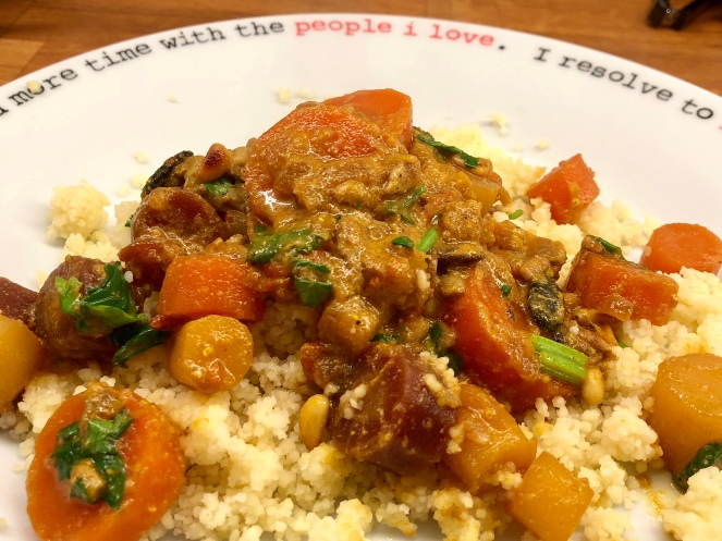 Multi coloured carrot curry and cuscus