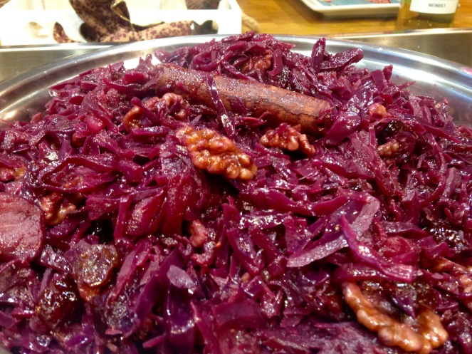 Red Cabbage with walnuts, onions and cranberries