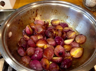 Braised onions and chestnuts