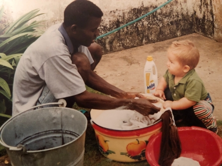 Herve with my son, washing our clothes